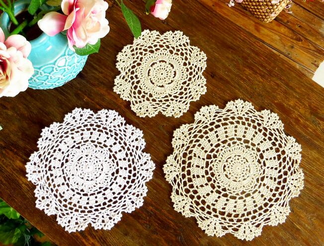 Lace cotton table place mat cloth pad crochet cup drink coaster handmade placemat HOT doily mug holder placement dining kitchen in Mats Pads from Home Garden
