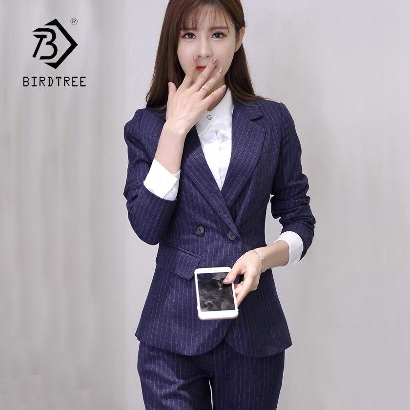 Bureau Mince Femmes Haute Costumes Rayé Costume Dark Doux Boutonnage Élégant Taille Et Blue Blazer Classique Dame Pantalon S87443x Double z77rqn5wt