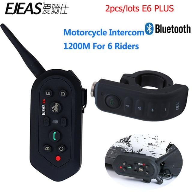 2pcs EJEAS Motorcycle Helmet Intercom 1200M Communicator Helmet Interphone Headsets VOX with Remote Control for 6 Riders E6 Plus