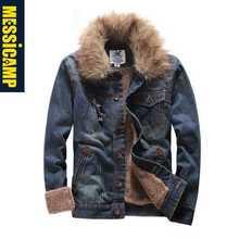 Faux Fur Collar Men Denim Jackets Winter Warm Solid Single Breasted Thicken Jean Jacket Coats Denim