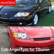 Per Hyundai Tiburon 2003 2004 2005 2006 COB Ha Condotto La Luce giorno Bianco Halo Cob Led Fari alogeni di profondità Anello di Errore di Trasporto Ultra luminoso