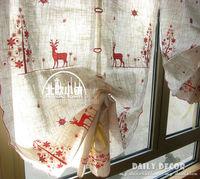 cotton linen Embroidery Cartoon elk curtains Pulling& lift curtain Balloon Curtain Roman blinds sector coffee curtain cortina