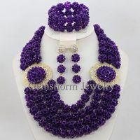 Nigerian Wedding African Beads Purple Jewellery Set Full Beads Chunky Bib Women Party Jewelry Set Free