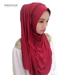 Image 2 - 0TJ57 hiyab liso de 180x70cm para mujer, bufandas musulmanas, de alta calidad Hijab, hermoso gorro chal de moda (with1 Undescarf