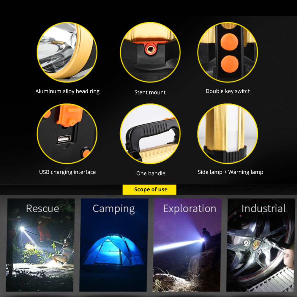 Купить с кэшбэком 160W Ultra Powerful LED Searchlight USB Charging Flashlight Rechargeable Built-in 18650 Battery Tactical Torch 40H Working Lamp