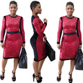 Womens Sexy Black Red Sequined Geometric Long Sleeve O-Neck Knee Length Bandage Dress Clubwear Clothes