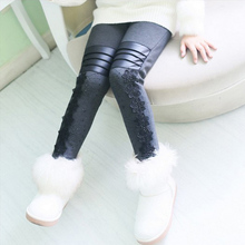 Girls Pants Winter Leggings Children Elastic Floral Lace Printed Flowers Warm Thick Cotton Gray Black Kids Trousers 6-11