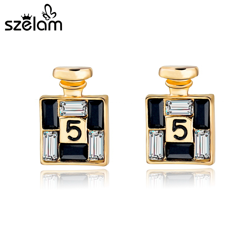 SZELAM 2019 New Arrival Bijoux Gold Channel Earrings for Women Crystal Stud Earings Famous Brand Jewelry Brincos SER150066