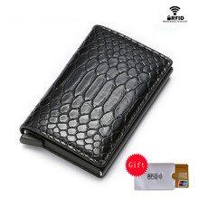 ZOVYVOL New RFID ID Card Holder Business PU Leather High Quality Suitcase Wallet Aluminum Box Slim Mini