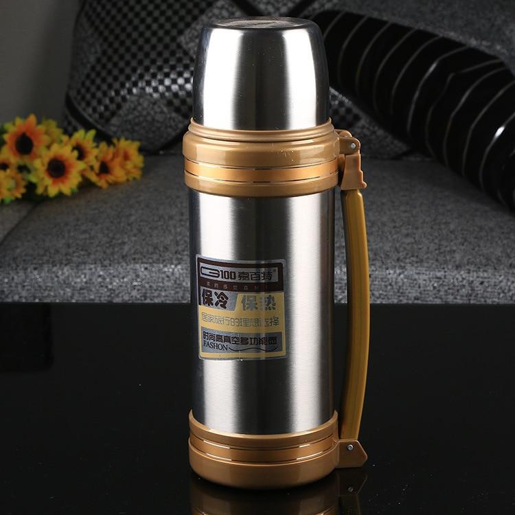Big Thermos Su Şüşəsi Flask Paslanmayan Polad Metal Xarici - Mətbəx, yemək otağı və barı - Fotoqrafiya 2