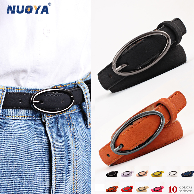 NUOYA 705 New Wild Candy-colored Flat Womens Belts Oval Buckle Cummerbunds for Women Dress Slim Body Shapper Girls Fashion