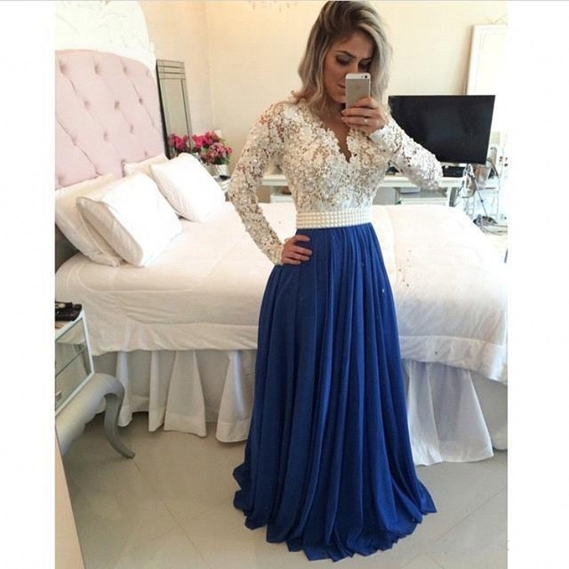 White And Blue Evening Dress Lace Pearls Long Sleeves Formal Prom