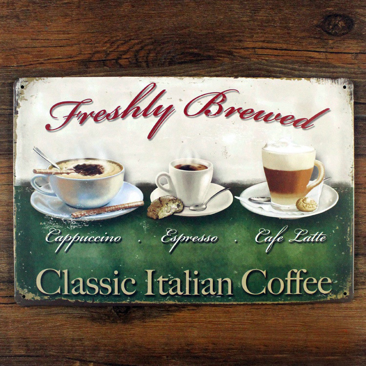 Xsy0416 Free Ship Vintage Metal Tin Signs Classic Italian Coffee Painting Home Decor Poster