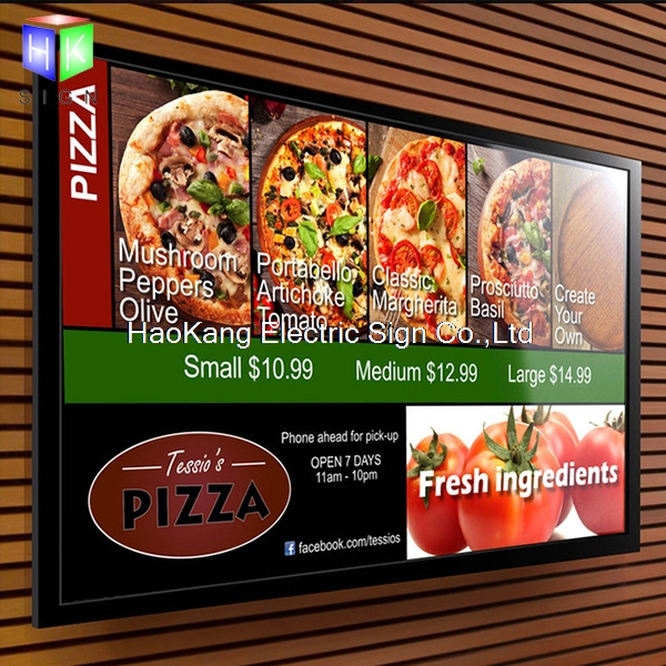 Commercial Lighting 24x36 Restaurant Hanging Led Window Display Menu Light Box Single Sided Cable Hanging Aluminum Snap Frame Advertising Signage