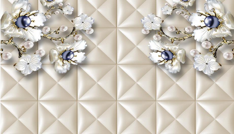 papel de parede do desktop custom wallpaper for walls 3 d White flowers pearls photo 3d stereoscopic wallpaper for living room