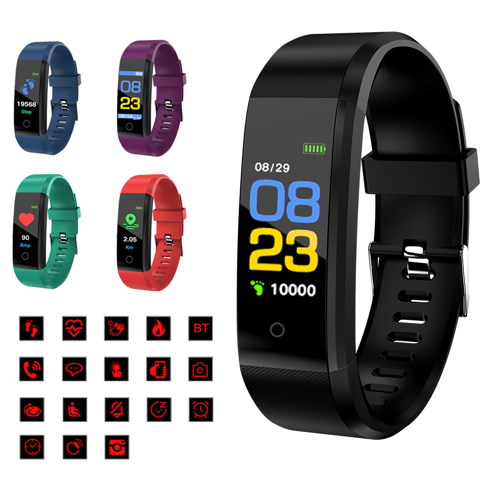 2019 New Smart Bracelet Heart Rate Monitor Blood Pressure Fitness Tracker Smartwatch Sport Watch for ios android + BOX Men Women