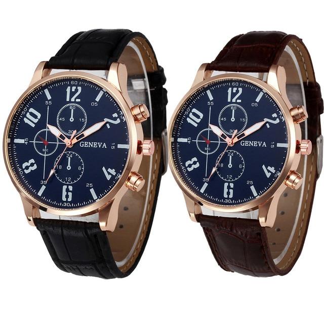 4852734b80a2 Business Retro diseño cuero banda cuarzo relojes reloj hombres marca de lujo  deporte Digital Relogio masculino