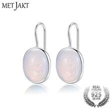 MetJakt натуральный овальный прозрачный лунный камень висячие серьги Твердые 925 пробы серебряная серьга-крючок опал для женщин ювелирные изделия