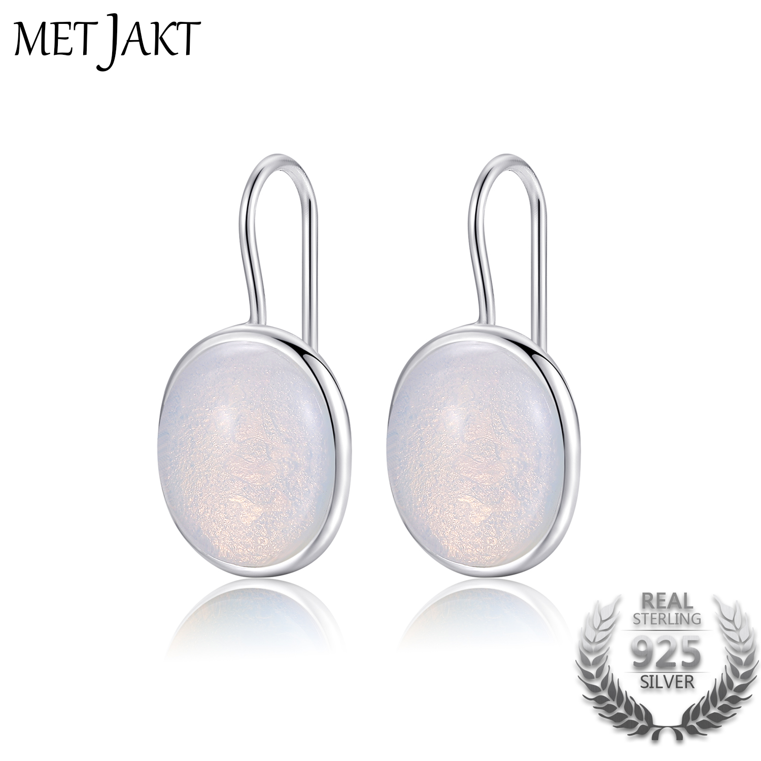 MetJakt Natural Oval Clear Moonstone Drop Earrings Solid 925 Sterling Silver Hook Earring Opal for Women's Fine Jewelry metjakt bohemia natural agate white chalcedony drop earrings with zircon solid 925 sterling silver earring for women jewelry