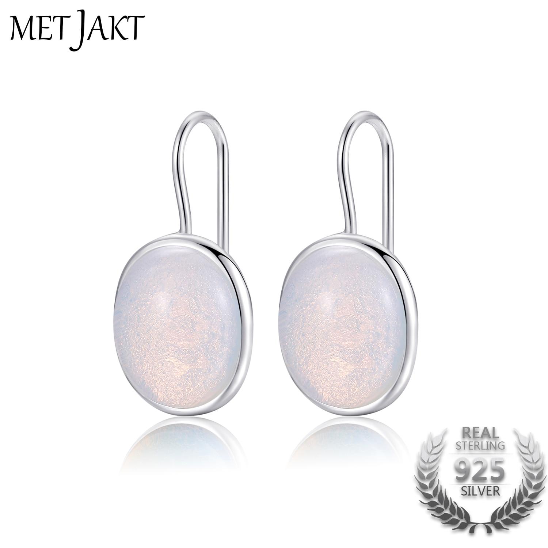 MetJakt Natural Oval Clear Moonstone Drop Earrings Solid 925 Sterling Silver Hook Earring Opal For Women's Fine Jewelry