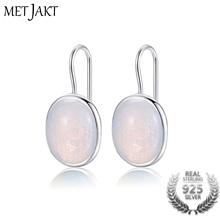 MetJakt Natural Oval Clear Moonstone Drop Earrings Solid 925 Sterling Silver Hook Earring Opal for Womens Fine Jewelry