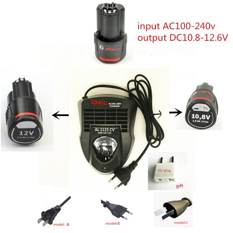 Charger Replace for Bosch AL1115CV 10.8V  12V Li-ion Battery  GSR10.8V-LI GSB10.8V-LI GDR10.8V GUS10.8V GRO10.8V GSB1080-2-LI for bosch gsr 12v gli 12v ahs gsb gsr psr 12 12ve battery 1 5ah ni cd bat043 bat045 bat046 bat049 bat120 bat139 26073 35555 p15