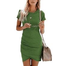f8e004ed40449 مثير فساتين النساء الصيف فستان الشمس 2019 قصيرة الأكمام غير النظامية تنحنح  عارضة Bodycon Vestido زائد