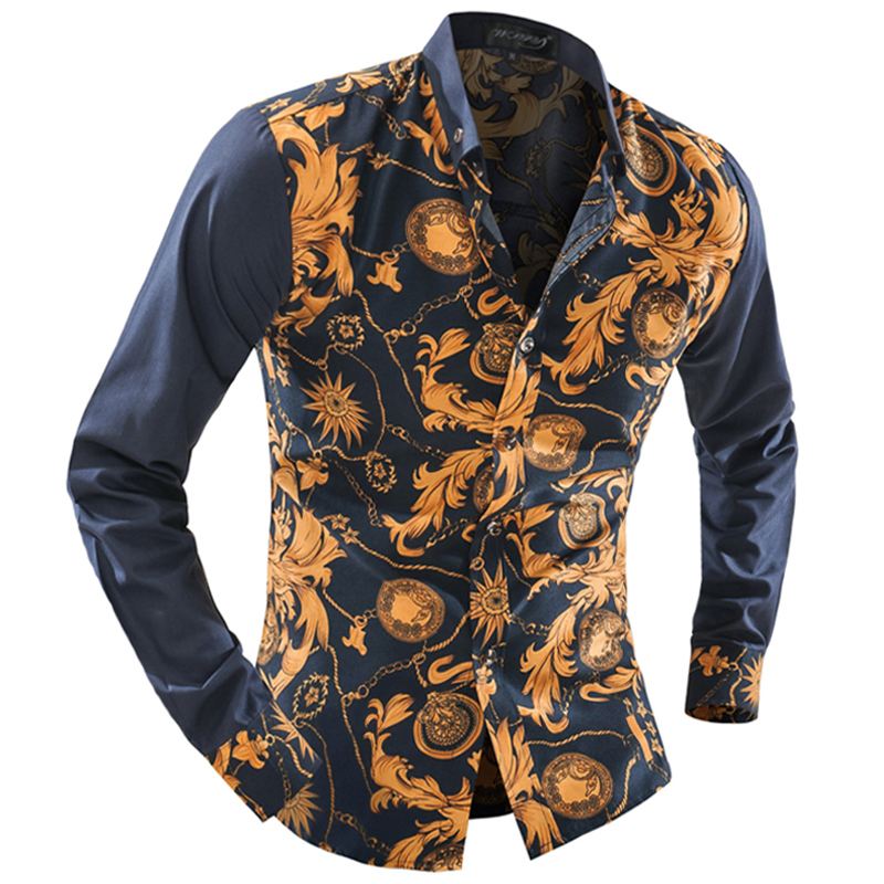 f53ae4e4665 WSGYJ Brand 2018 Fashion Male Shirt Long Sleeves Tops Wild Print Color  Classic Models Mens Dress Shirts Slim Men Shirt-in Dress Shirts from Men's  ...