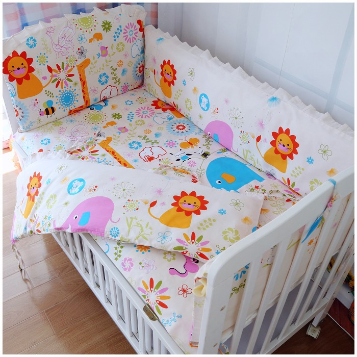 Promotion! 6PCS Baby bedding sets cot set crib bumper bed sheet baby care cartoon sets (bumpers+sheet+pillow cover) promotion 6pcs bear boys baby cot crib bedding sets baby nursery bed kits set crib bumpers sheet bumper sheet pillow cover