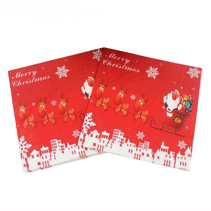 Christmas Santa elk cartoon Printed Paper Napkins for Party Decoration Tissue Decoupage Servilleta 33cm*33cm 20pcs/pack/lot