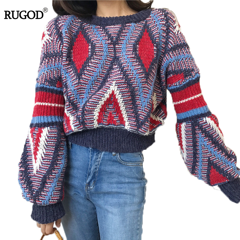 RUGOD 2017 Fashion Loose Christmas Sweater Lantern Sleeve O-neck Striped Women Sweater Casual Short Winter Pull Femme Hiver