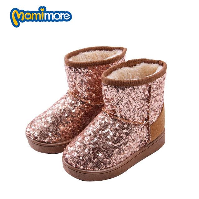 Invierno de Los Niños Botas de Nieve Niñas de Lentejuelas Sólido Caliente 2017 de Moda Botas De Goma Zapatos Calientes, Además de Terciopelo Nieve Niño Niños Coogee