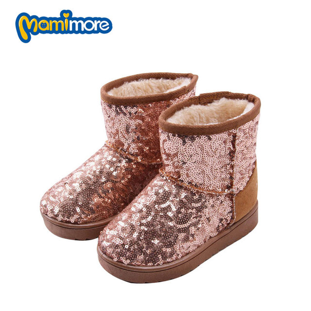 Winter Children Snow Boots Girls Sequins Solid Warm 2017 Fashion Child Boots Rubber Warm Plus Velvet Snow Shoes Boys Coogee