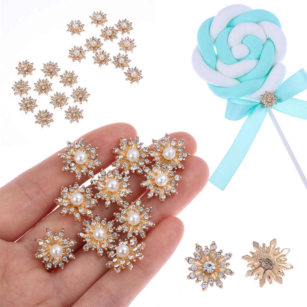 10PCS 16mm Rhinestone Snowflake Cabochon Metal Vintage Buttons for Clothing Flatback Plating Pearl DIY Craft Apparel Sewing