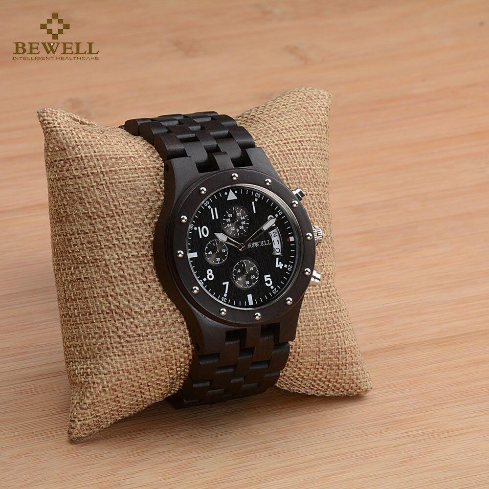 BEWELL Top marque hommes Auto Date bois montres homme chronomètre et hommes mains lumineuses analogique Quartz horloge Relogio Masculino 109D - 2