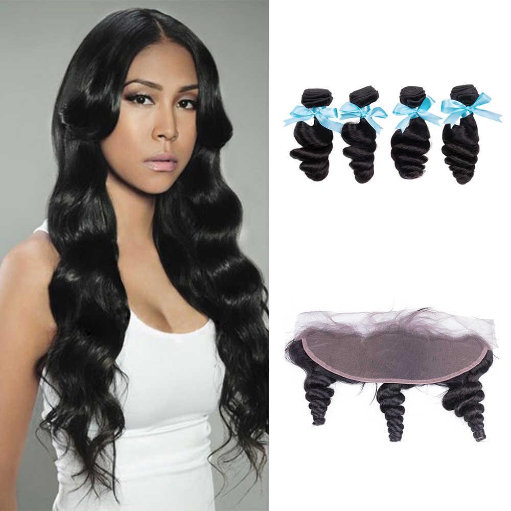 Sevengirls Grade 10A Peruanisches Reines Haar Bundles Mit Frontal 13x4 Pre Gezupft Menschliches Haar Lose Welle Frontal Für schwarz Frauen