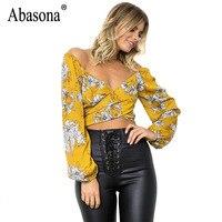 Abasona Women Chiffon Blouses Shirts Autumn Long Sleeve Women Tops Sexy V Neck Print Shirt Off