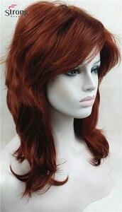 Image 4 - כובע קלאסי אדום ארוך שאגי שכבות נחושת מלא נשים פאה סינתטית פאות של אפשרויות צבע