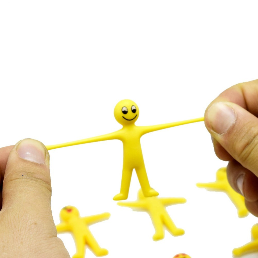 20PCS/LOT AntiStress Squishy  Elastic Yellow Doll Slow Rising Squeeze Funny Toys Smlile Gift For Kids X037