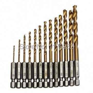 13pc Hex Shank Titanium Coated  HHS Twist Drill Hex Quick Change Drill Bits Set ,1.5-6.5mm g 3pcs set quick change hex shank larger titanium coated m2 tool step drill bit set 71960 t