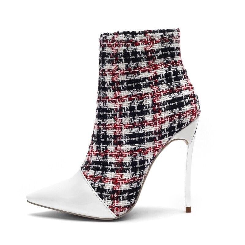 Botas Beertola Mujeres Zapatos Cuero Del Real Tobillo Dedo Pie Blanco La Mujer Nuevas Las Tejido Patchwork Alto Genial Puntiagudo Tacón De Moda qrr5tz