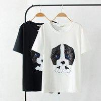 Plus Size White Black Dog Sequins Women T Shirt 2017 Short Sleeve T Shirt Cotton O
