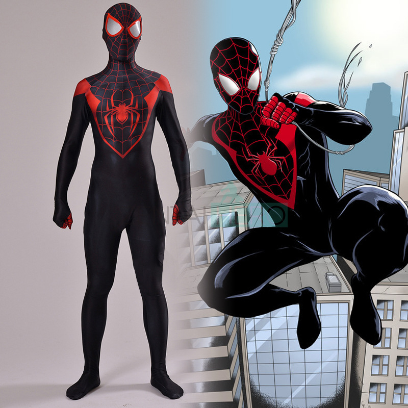 Adult Kids Miles Morales Amazing Spider-Man Jumpsuit Cosplay Costume Bodysuit Spiderman Zentai Black Red Suit Halloween