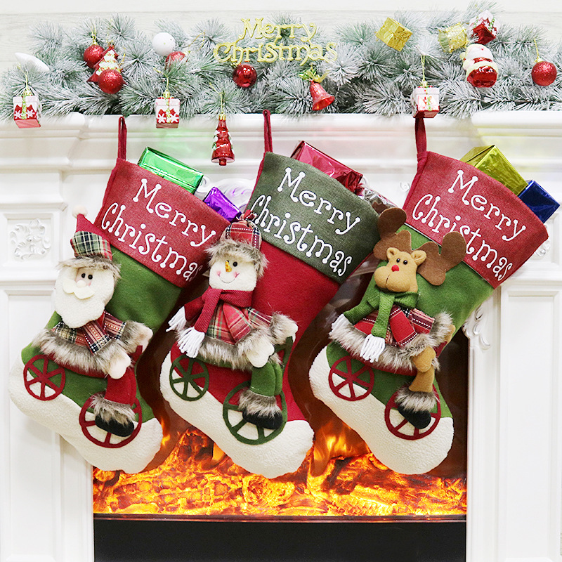New Luxury Personalised Christmas Stockings Embroidered Xmas Stocking Hessian Christmas Ornament Decoration For Home 2018