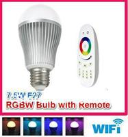 free shipping 9W E27 RGBW (RGB+cool white) led bulb with remote, can control by iphone ipad android with wifi controller