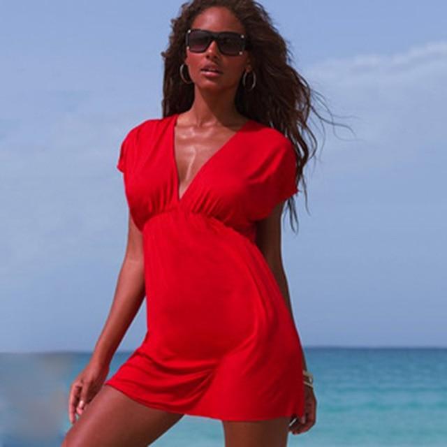 European Style Robe De Plage Summer Women Elastic Ice Swimwear Deep V-Neck Solid Short Sleeves Beach Cover Up 4