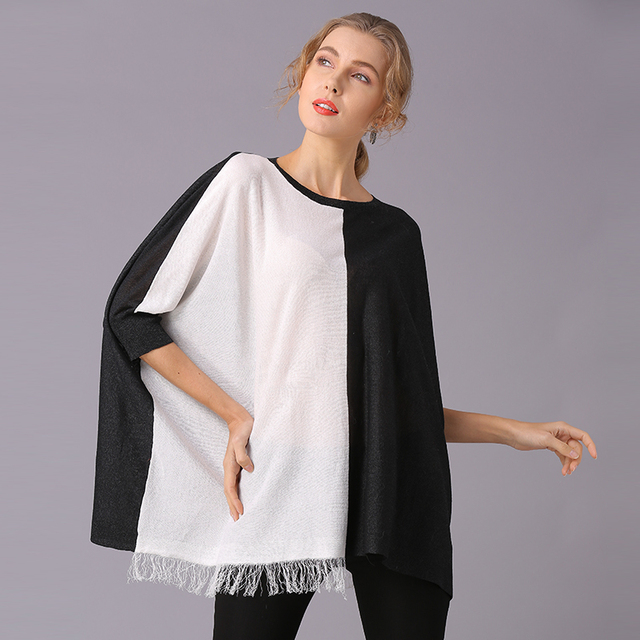 XIKOI Women T Shirt Oversize Clothing Casual Color Stitching Novelty Pullovers Fashion Tees Ladies Shirts For Women Tops 3