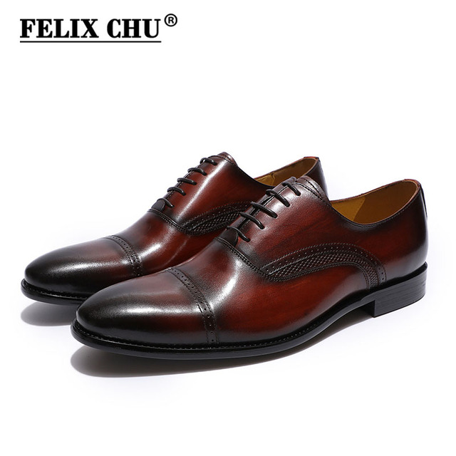 FELIX CHU Handmade Genuine Leather Mens Dress Shoes Black Burgundy Cap Toe  Men Oxfords Wedding Office Business Male Formal Shoes fb52499d7217