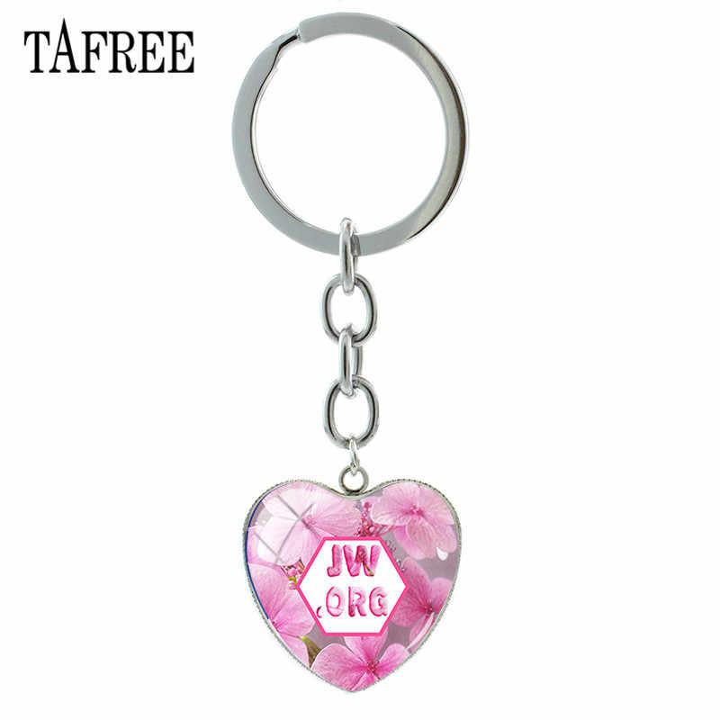 TAFREE Высокое качество 1 шт. JW. ORG брелки в форме сердца Стеклянные Кулон из кабошона брелок сумка Подвески подарок JW18