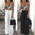 Мода Новый 2017 Женщин Высокой Талии Шифон Повседневный Элегантный Длинные Широкого Покроя Штаны Summer Beach Party Белый Свободные Брюки